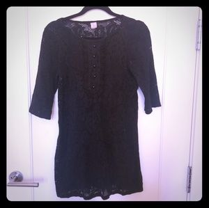 Aqua Black lace mini dress